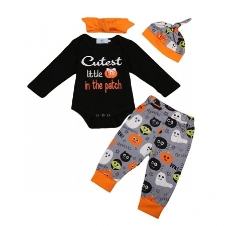 4Pcs Newborn Baby Boys Girls Romper Pants Leggings Hat Halloween Outfits Clothes