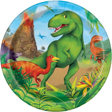 Dinosaur Paper Dessert Plates, 7in, 24ct - Dinosaur Plates