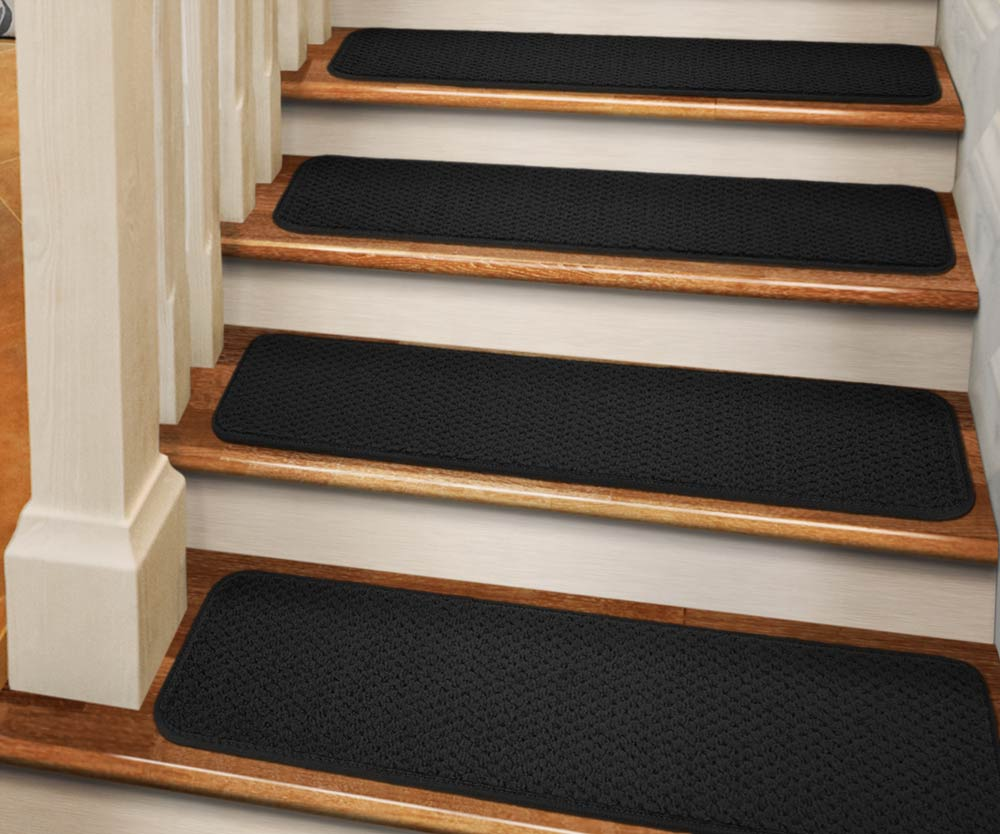 Bon Set Of 15 Tape Down Carpet Stair Treads   Black   8 In. X 23.5 In.    Several Other Sizes To Choose From