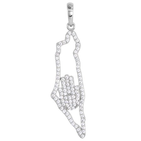 Sterling Silver CZ Map of Israel Pendant with Hamsa Micro Pave Rhodium finish 1 3/8 inch tall