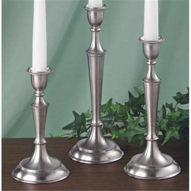 Biedermann /& Sons Pewter Finish Taper Candle Holders Set of 3 Assorted Heights H6530