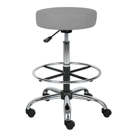Boss Office Products Transitional Grey Adjustable 16ch Diameter Drafting Stool