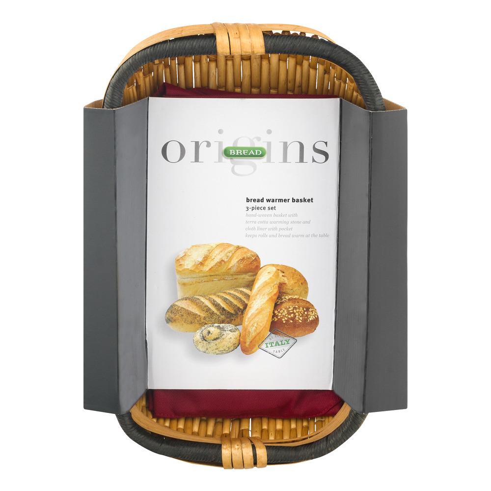 Italian Origins Bread Basket with Warming Stone Set, 3-Piece