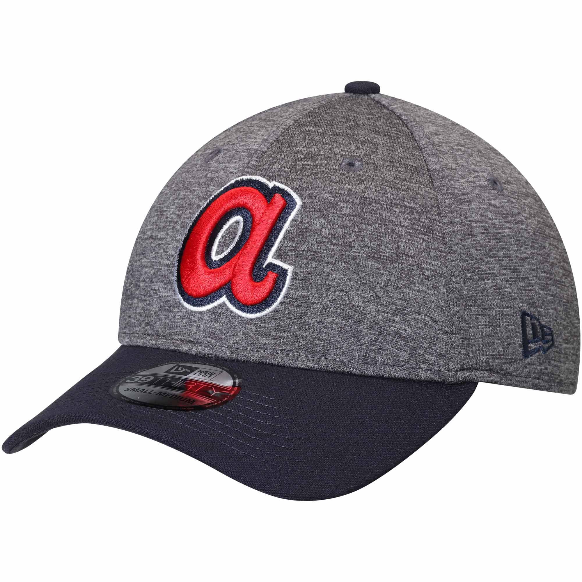 Atlanta Braves New Era Adult 39THIRTY Shadow Tech Flex Hat - Heathered Gray/Navy