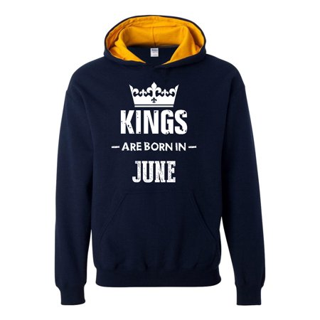 Birthday Gift Kings Are Born In June Men Hoodie Hoodies Contrast Color