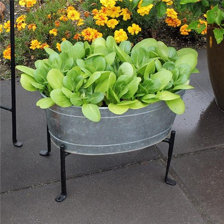 Image of Achla C-51M-S1 Mini Oval Galvanized Tub with Folding Stand, Galvanized Steel & Black