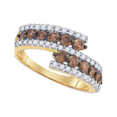 10kt Yellow Gold Womens Round Cognac-brown Color Enhanced Diamond Band Ring 1.00 Cttw - image 1 de 1