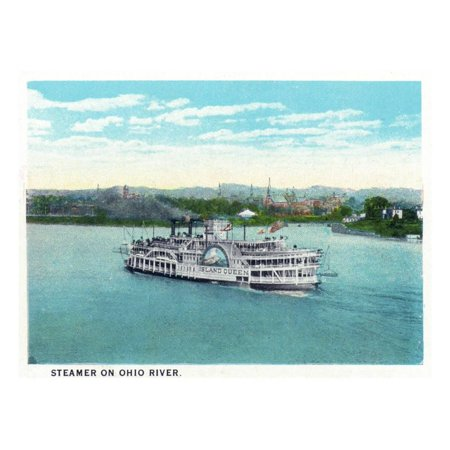 Cincinnati, Ohio - Ohio River Steamer Near City Print Wall Art By Lantern Press - Nearest Party City Near Me