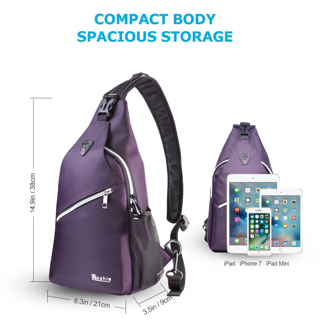 Rophie Sling Bag Pack for Bottle and iPad Chest Shoulder Crossbody Hiking  Backpack Outdoor Sport Bicycle Rucksack Camping Travel Casual Daypack for  Men ... 0b674daae1ff3
