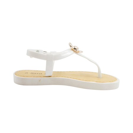 b96cbe36960d Sara Z Toddler Girls Jelly Thong Sandals with Gold and Enamel Flower 11 12  White