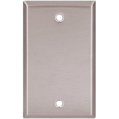 93151 Standard Size Stainless Steel 1-Gang Blank Wallplate, Satin Brush Finish, 1-gang wallplate is made of stainless steel with a satin brushed finish to.., By Eaton