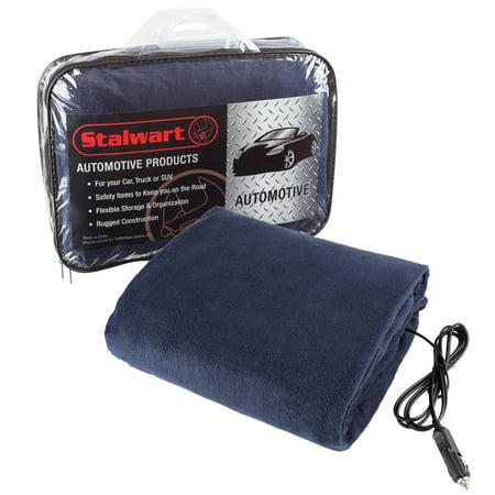 Stalwart 12 Volt Blue Electric Fleece Blanket 12 Volt Heated Blanket