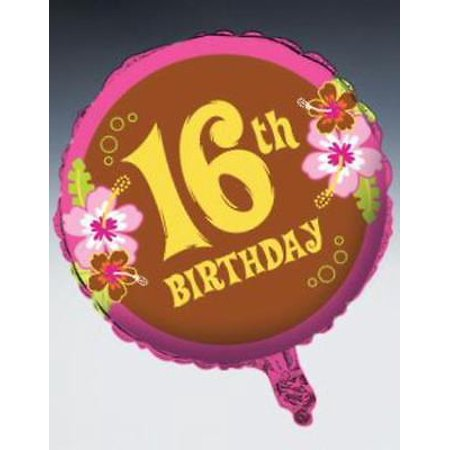 Aloha Foil Happy 16th Birthday Foil Balloon, - Happy 16th Birthday Balloons