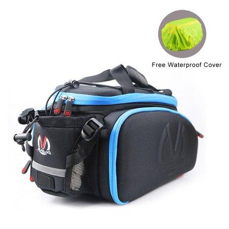 SAVADECK Bike Rack Bag, Bike Trunk Bag Multifunction Waterproof Cycling Road Bicycle Pannier Rack Rear Trunk Carrier Commuter Bag Blue