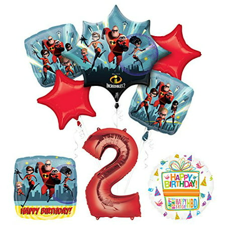 Incredibles 2 Party Supplies 2nd Birthday Balloon Bouquet Decorations