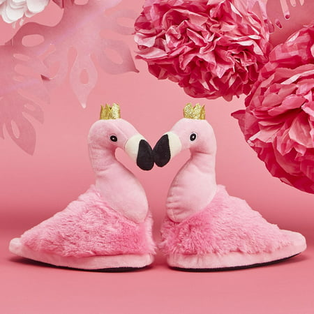 Two's Company Flock Star Flamingo Super Soft Children's Slippers Large