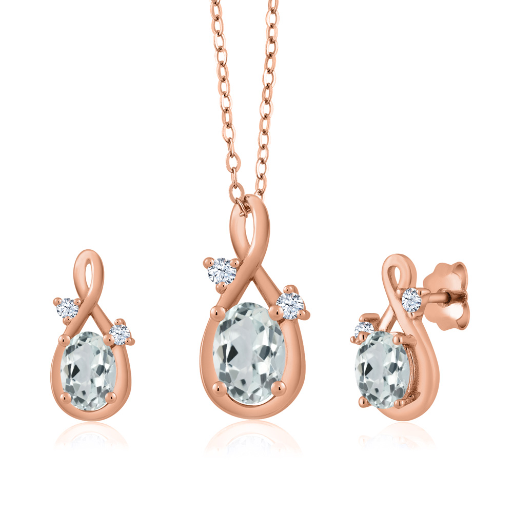 1.67 Ct Oval Sky Blue Aquamarine 18K Rose Gold Pendant Earrings Set by