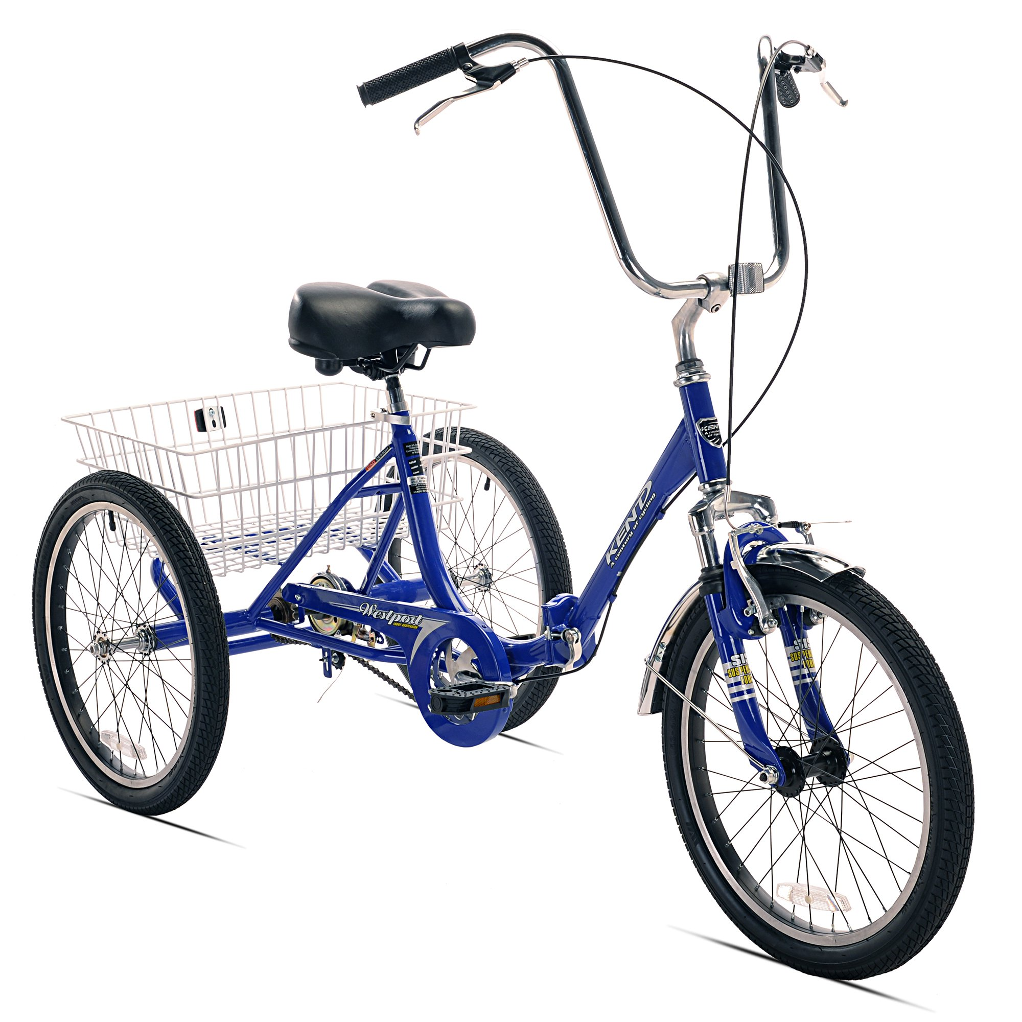 "Kent 20"" Westport Adult Folding Single Speed Tricycle Bike with Basket, Blue"