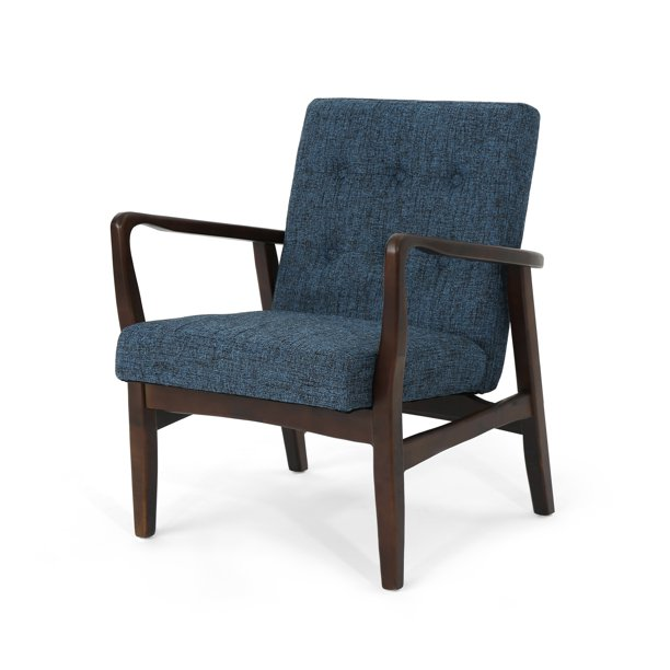 Conrad Mid Century Modern Fabric Club Chair with Wood Frame, Indigo Weave and Dark Espresso