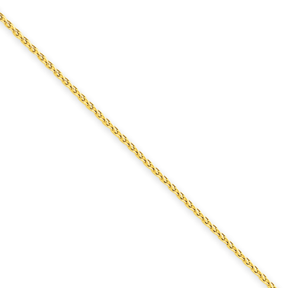 The Black Bow 1.2mm, 14k Yellow Gold, Round Solid Wheat C...
