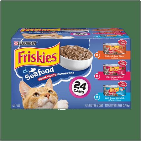 Friskies Gravy Wet Cat Food Variety Pack, Seafood Prime Filets Favorites - (24) 5.5 oz. Cans