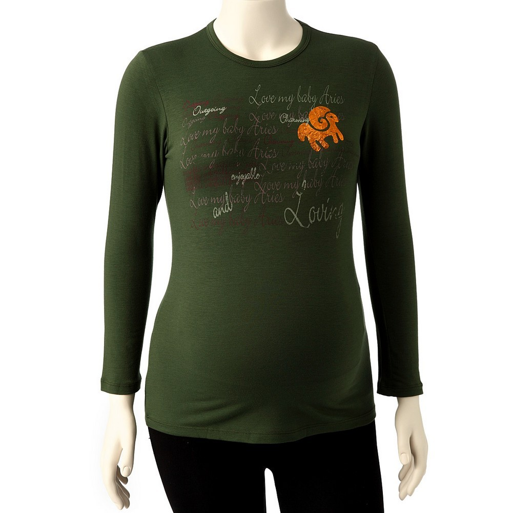 Love My Belly Women Olive Aries Long Sleeve Zodiac Maternity T-shirt One Size