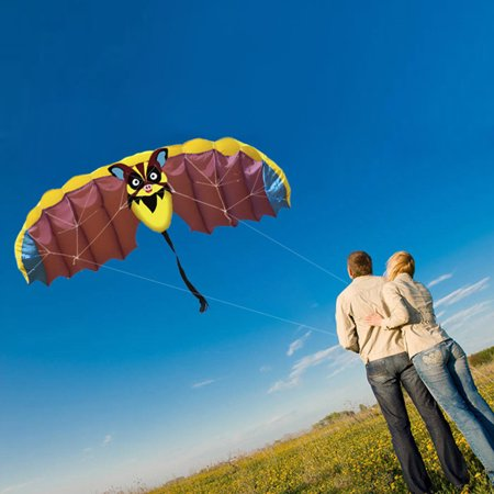 140 * 50cm Frameless Soft Dual Line Stunt Parafoil Kite Parachute Sports Beach Flying Cartoon Bat Kite
