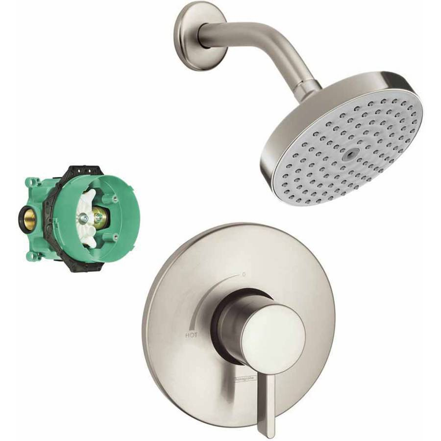 Hansgrohe KS04233-27486PC Raindance S 150 Air 1-Jet Showerhead Kit with PBV Trim and Rough-In, Various Colors