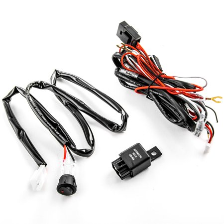 Wiring Harness Kit for LED Lights 200W 12V 40A Fuse Relay On/Off Switch Relay Universal Compatible with LED, HID, or Halogen Off-Road Light Bars, Work Lights, or Auxiliary (New Lcd Harness)