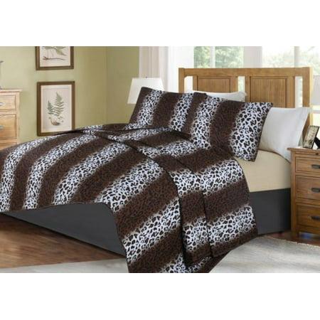 3-PIECE ANIMAL #2 LEOPARD KING LUXURY MIDWEST MODREN ANIMAL WILD PRINT DESIGN Solid Microfiber Quilting Bedding Bedspread Coverlet Set Matching Pillow Sham & Quilt ()
