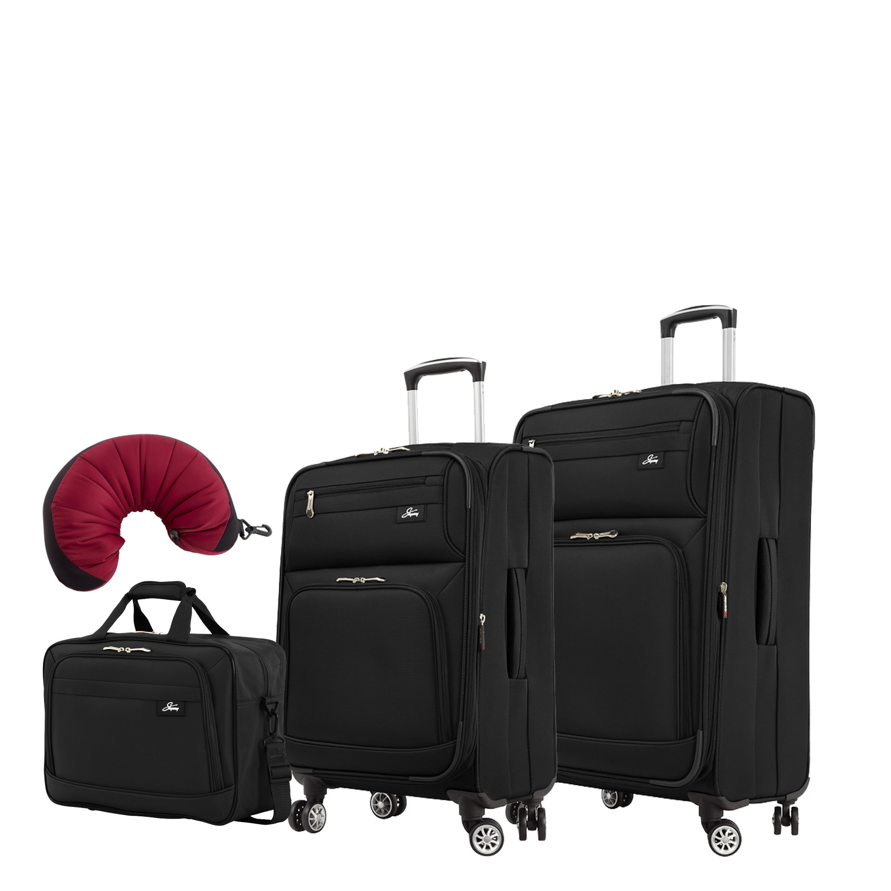 "Skyway Sigma 5.0 | 4-Piece Set | 16"" Shoulder Tote, 21"" and 25"" Expandable Spinners, Travel Pillow"