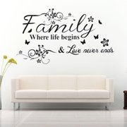 Family Where Life Begins Decal Mural Wall Sticker DIY Art Quote Words Home Decor or Luminous wall stickers