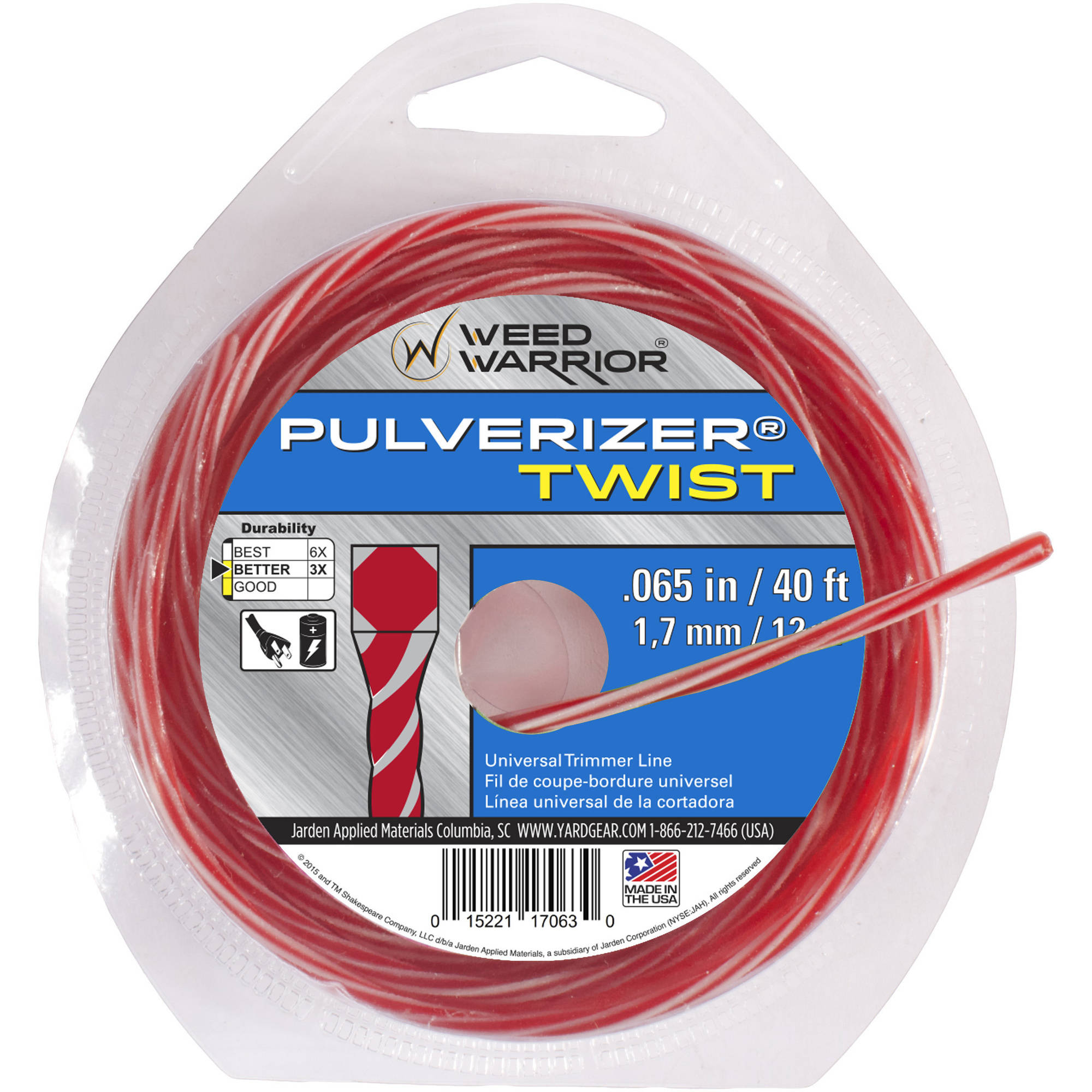 Weed Warrior Replacement Bicomponent Twist Trimmer Line .65, 40 ft. Loop Donut