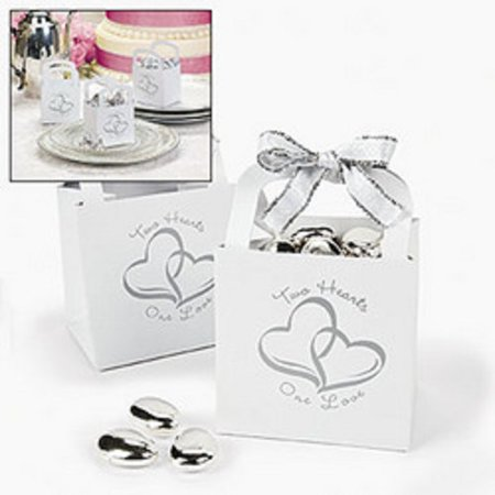 Lot of 12 Two Hearts Wedding Gift Baskets Favor Boxes ()