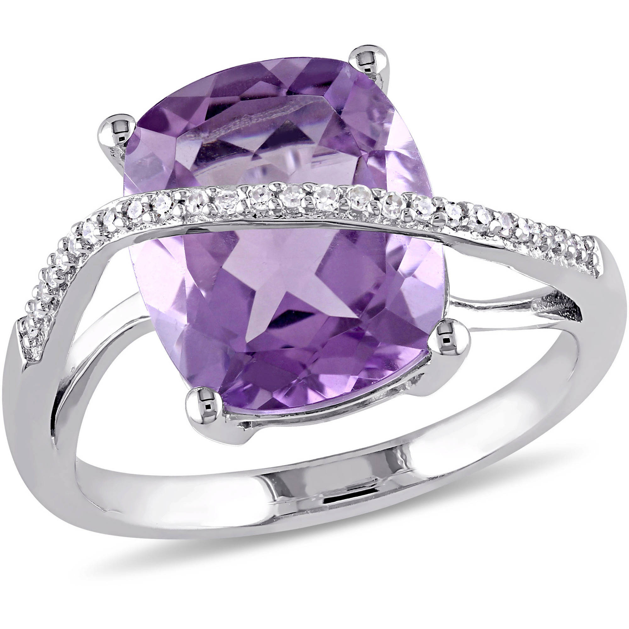5 Carat T.G.W. Amethyst and 1/10 Carat T.W. Diamond Sterling Silver Cross-Over Cocktail Ring