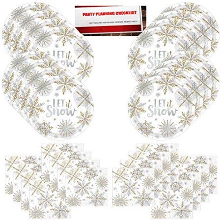 Holiday Christmas Snowflake Let It Snow Winter Wonderland Fall Party Supplies Bundle Pack for 16 (Plus Party Planning Checklist by Mikes Super Store) (Xmas Party Supplies)