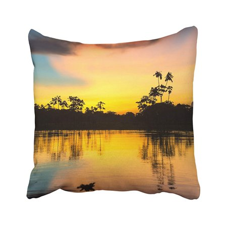 BOSDECO Yellow River Colorful Sunset Deep In The Amazon Rainforest Peru Jungle Amazonas Pillowcase Pillow Cushion Cover 20x20 inches - image 1 of 1