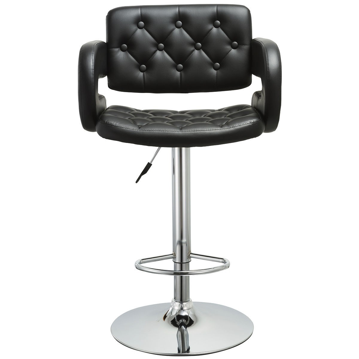 2 pcs PU Leather Adjustable Pub Chair Bar Stool Black by
