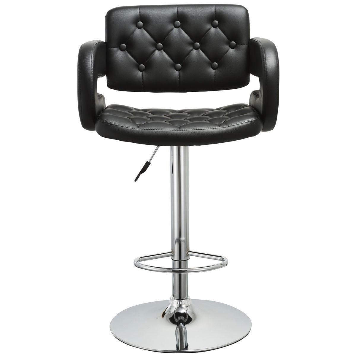 2 pcs PU Leather Adjustable Pub Chair Bar Stool Black by