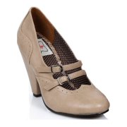"""Ellie Shoes E-BP403-Mille 3-1/2"""" Cone Heel Closed-Toe Nude / 6"""