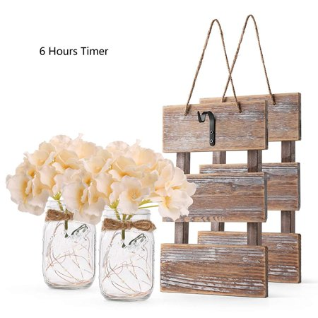Decorative House (Rustic Brown Mason Jar Sconces for Wall Decor, Decorative Chic Hanging House Decor Mason Jars with LED Strip Lights, 6-Hour Timer, Silk Hydrangea, Iron Hooks for Home & Kitchen)