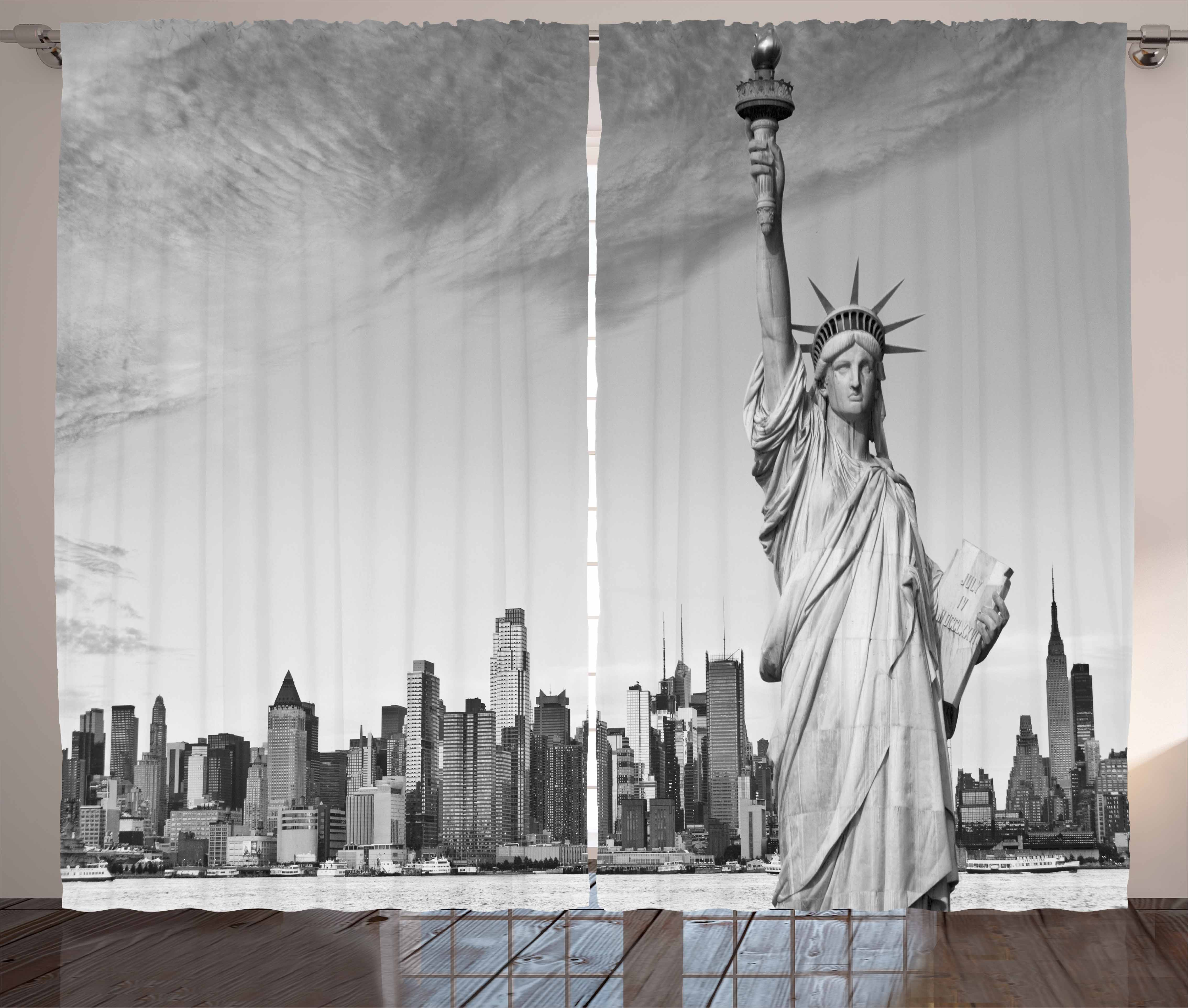 Black and White Curtains 2 Panels Set, Statue of Liberty of New York City  Famous American Monument, Window Drapes for Living Room Bedroom, 108W X 96L  ...