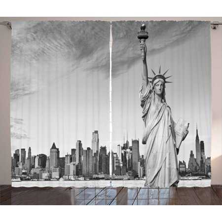 Black and White Curtains 2 Panels Set, Statue of Liberty of New York City  Famous American Monument, Window Drapes for Living Room Bedroom, 108W X 63L  ...