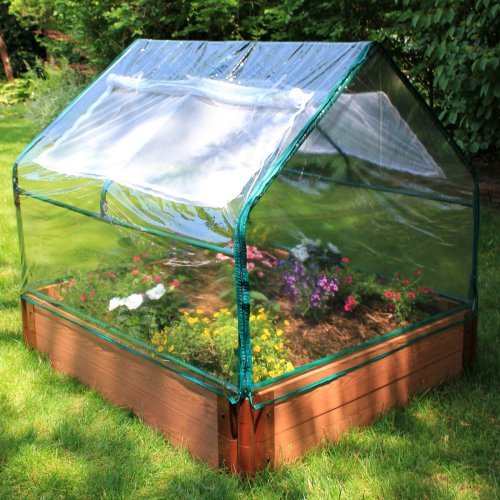 Frame-It-All Greenhouse Kit and Recycled Resin Raised Garden Bed