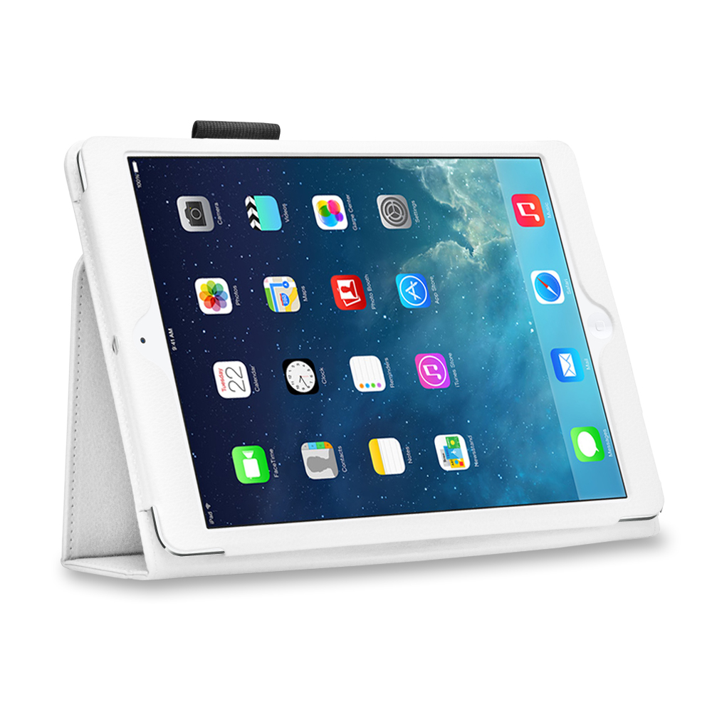iPad 1 Case (White) - Slim Fit Synthetic Leather Folio Case Flip Cover Stand with Stylus Holder for Apple iPad 1 1st Generation
