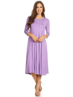 7b14ddf0cf Product Image NEW MOA Women s Casual Solid 3 4 Sleeve A-line Midi Dress    Made
