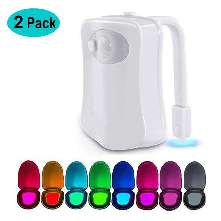 Toilet Night Light(2Pack), 8-Color Led Motion Activated Toilet Seat Light, Fit Any Toilet Bowl,Toilet Bowl Light with Two Mode Motion Sensor LED Washroom Night Light, I5232