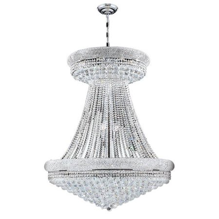 Worldwide Lighting W83037C36 Empire 28-Light 1 Tier 36u0022 Chrome Chandelier with Clear Crystals