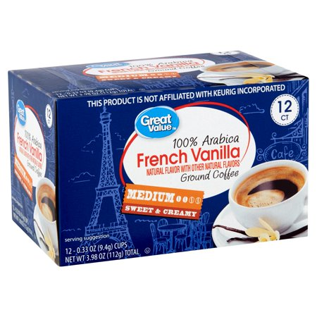 Roasted Ground Coffee Vanilla Bean (Great Value 100% Arabica French Vanilla Coffee Pods, Medium Roast, 12)