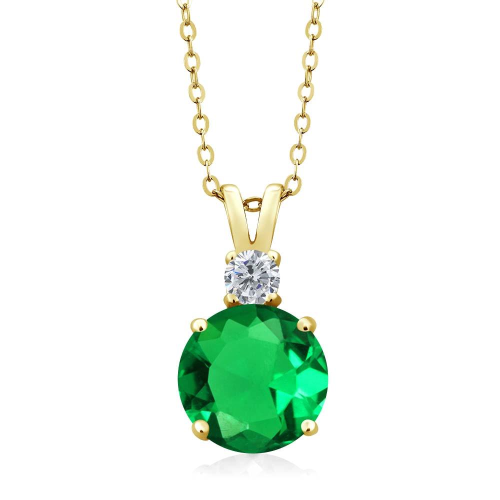 3.56 Ct Round Green Simulated Emerald G/H Diamond 14K Yellow Gold Pendant